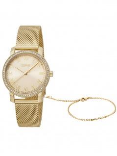 Esprit ES1L282M0105 Mari Gold Mesh Set Uhr Damenuhr Datum gold