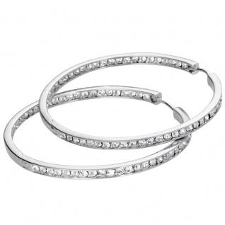 Basic Silber Damen SCR40 Creolen Silber Zirkonia Weiß