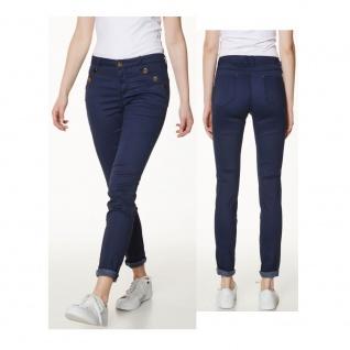 Vero Moda Damen Hose 10126910 RIDER NW Slim Button Pant Blau Gr. 34