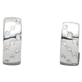 Basic Silber 05.2097 Damen Creolen Silber Zirkonia weiß