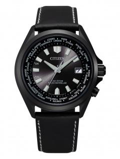 Citizen CB0225-14E Eco Drive Uhr Herrenuhr Lederarmband Datum schwarz