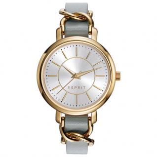 Esprit ES109342002 TP10934 BEIGE Uhr Damenuhr Lederarmband grau gold