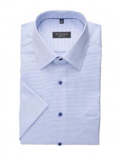 Eterna Herren Hemd Kurzarm Comfort Fit Natté strukturiert Blau XL/43