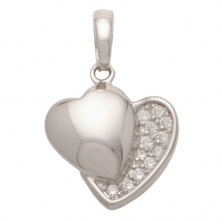 Basic Silber SH09 Damen Collier Herz Silber Zirkonia 42 cm
