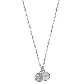 Emporio Armani Damen Collier SIGNATURE Stahl Zirkonia Perlmutt 43 cm