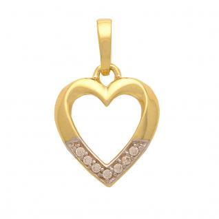 Basic Gold HZ07 Damen Anhänger Herz 14 Karat (585) Bicolor Gold weiß