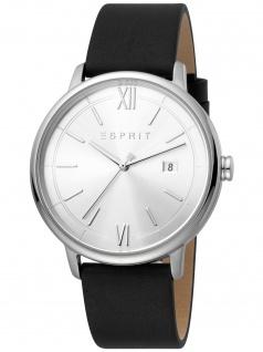 Esprit ES1G181L0015 Kaya Gents Black Silver Herrenuhr Leder Datum