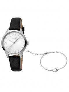 Esprit ES1L259L0025 Pointy SET Uhr Damenuhr Lederarmband schwarz