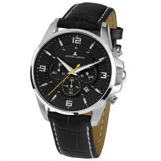 Jacques Lemans LIVERPOOL Chronograph Uhr Herrenuhr Leder Datum schwarz