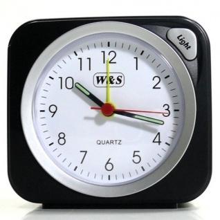 W&S 030409 Wecker Uhr schwarz-silber Analog Licht Alarm - Vorschau 2