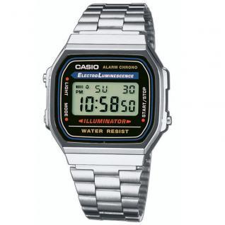 CASIO A168WA-1YES Uhr Herrenuhr Edelstahl Datum Digital schwarz
