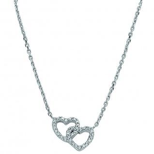 Basic Silber 11.EX106 Damen Collier Herz Silber Zirkonia weiß 42, 5 cm
