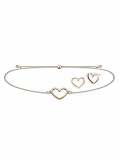 Julie Julsen JJSET2 Damen Armband Herz Sterling-Silber 925 Beige 25cm