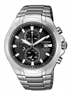 Citizen CA0700-86E Chronograph Uhr Herrenuhr Titan Chrono Datum Silber