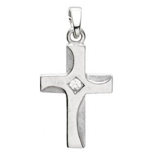 Basic Silber 27.9186S Damen Anhänger Kreuz Silber Zirkonia weiß