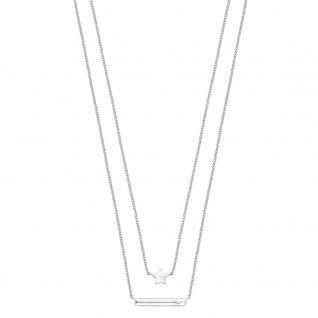 s.Oliver 2015020 Mädchen Kette Stern Silber Weiß 40 cm