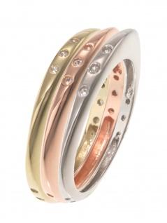 gooix 943-06737-520 Damen Ring Sterling-Silber Tricolor weiß 52 (16.6)
