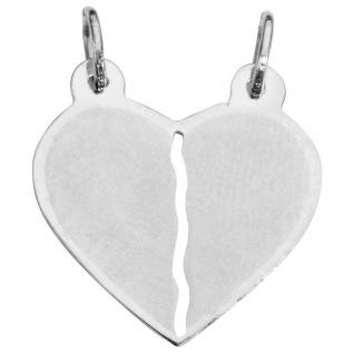 Basic Silber SL14 Anhänger Partneranhänger Herz Silber