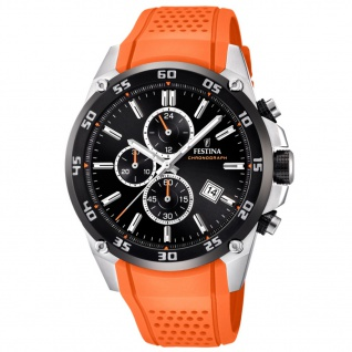 Festina F20330/4 Chronograph Uhr Herrenuhr Silikon Chrono Datum Orange