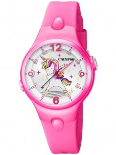 Calypso K5784/2 Einhorn Unicorn Uhr Mädchen Kinderuhr Kautschuk pink