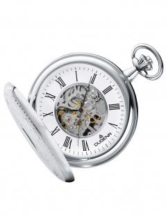 Dugena 4460637-1 Taschenuhr Savonette mit Kette Mechanisch Uhr silber