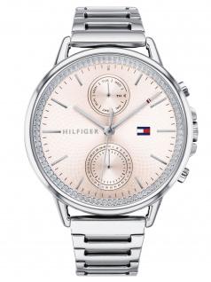 Tommy Hilfiger 1781917 CARL Uhr Damenuhr Edelstahl Datum Silber