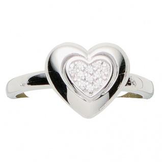 Basic Silber 53.EX499 Damen Ring Herz Silber Zirkonia weiß 54 (17.2)