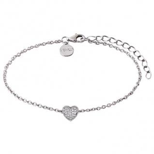 XENOX XS2782 Damen Armband Herz Love Story Silber weiß 20 cm - Vorschau 1