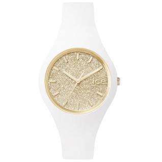 Ice-Watch ICE GLITTER White Gold Small Uhr Damenuhr Kautschuk weiß