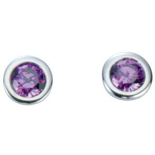 Basic Silber 01.1097L Damen Ohrstecker Silber Zirkonia lila
