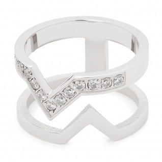 Leonardo 016117 Damen Ring Triangolo Edelstahl weiß 53 (16.9)