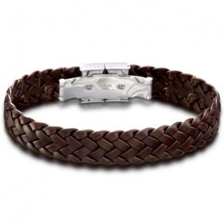 LOTUS Herren Armband Edelstahl Leder braun 22 cm