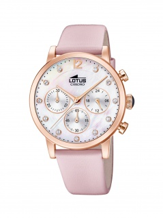 LOTUS 18675/1 ATHENA Chronograph Uhr Damenuhr Lederarmband Chrono Rosa
