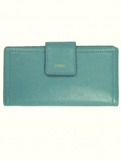Fossil Damen Geldbörse Portemonnaies RFID Logan Tab Leder Blau