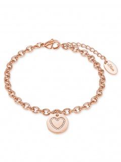 s.Oliver 2020958 Damen Armband Herz Edelstahl Rose Weiß 20 cm
