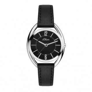 s.Oliver SO-3363-LQ Uhr Damenuhr Lederarmband Schwarz