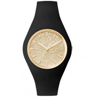 Ice-Watch ICE GLITTER Black Gold Unisex Uhr Damenuhr Silikon schwarz