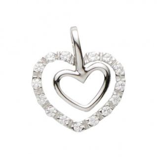 Basic Silber 21.0011S Damen Anhänger Herz Silber Zirkonia weiß