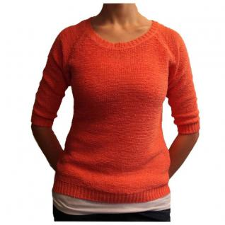 Damen Häckel Pullover Sublevel Grob Strick Orange Gr. XL