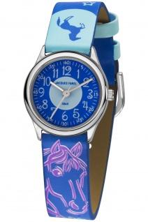 JACQUES FAREL HCC338 Pferd Uhr Mädchen Kinderuhr Lederarmband blau