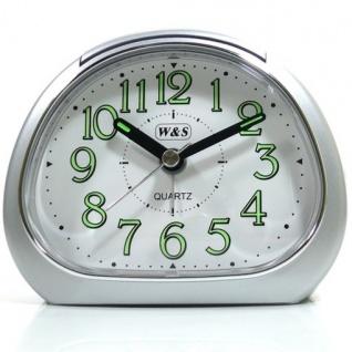 W&S 201119 Wecker Uhr silber-weiß leise Sekunde Analog Licht Alarm