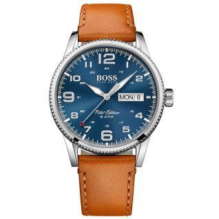 Hugo Boss Pilot Uhr Herrenuhr Lederarmband Datum braun