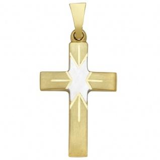 Basic Gold K04 Damen Anhänger Kreuz 14 Karat (585) Bicolor