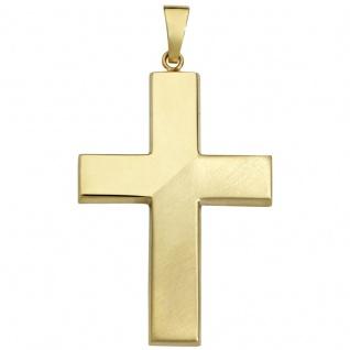 Basic Gold K15 Herren Anhänger Kreuz 14 Karat (585) Gelbgold