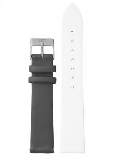 laVIIDA Uhrenarmband LB-SVI2006S Leder 18 mm Weiß-Dunkelgrau-Silber