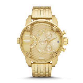 Diesel LITTLE DADDY Chronograph Uhr Herrenuhr Edelstahl gold
