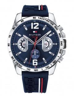 Tommy Hilfiger 1791476 DECKE Uhr Herrenuhr Kautschuk Datum blau