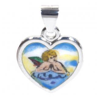 Basic Silber STG22 Kinder Anhänger Schutzengel Herz Silber