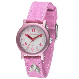 JACQUES FAREL ORG8821 Pferd Uhr Mädchen Kinderuhr Stoffband rosa