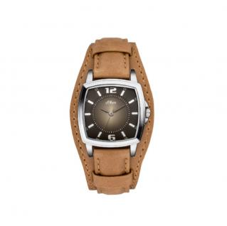 s.Oliver SO-3379-LQ Uhr Damenuhr Lederarmband Braun